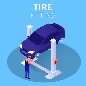 Tire fitting process in automotive repair service