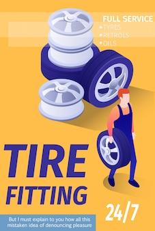 Шаблон рекламного баннера для tire fitting автомобильный магазин гараж