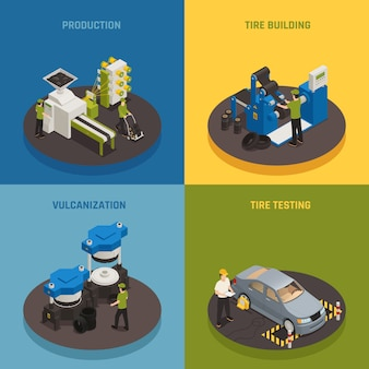 Tire production isometric composition set with industrial equipment and staff product creation and testing
