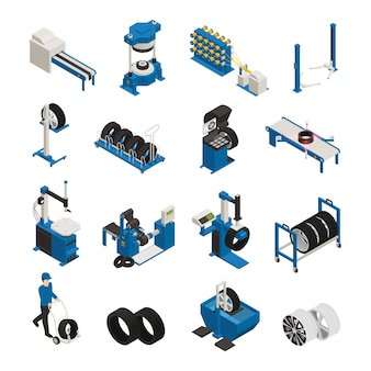 Tire production isometric icons with industrial equipment for manufacturing and maintenance of automobile wheel