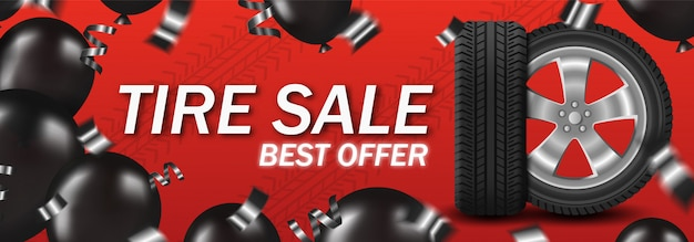 Tire sale with car wheel and black balloons and confetti on red background poster card