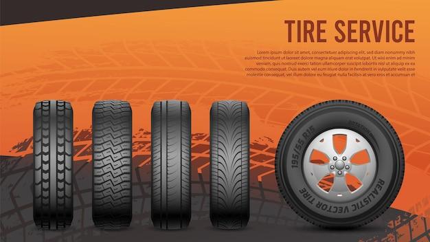 タイヤサービスバナー。タイヤ、車のホイールのポスター