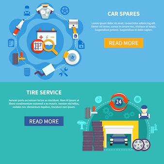 Tire service and car spares horizontal banners