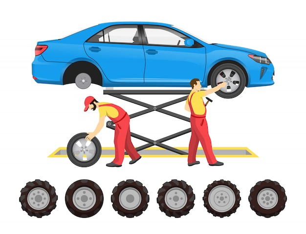 Tire service in cartoon style