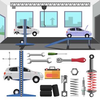 Tire service center of car.