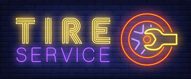Tire service sign in neon style