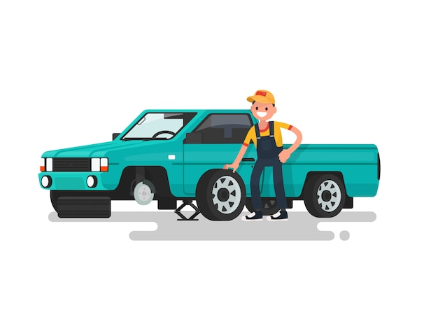 Tire service. worker change a punctured tire on the car illustration