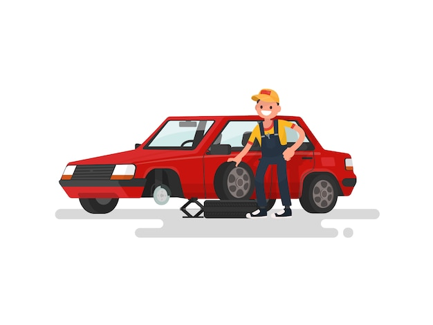 Tire service. worker changing a punctured tire a passenger car illustration