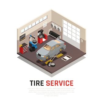 Tire service workshop interior with automobile jacks car tire fitting and balancing equipment