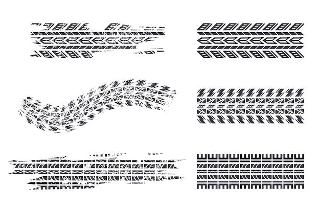 Набор векторных силуэтов черный след шин, изолированные на белом фоне.