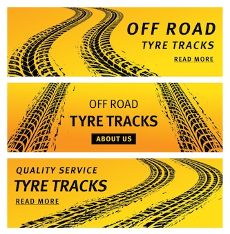 Tire track trails banners, car truck wheel prints on mud road