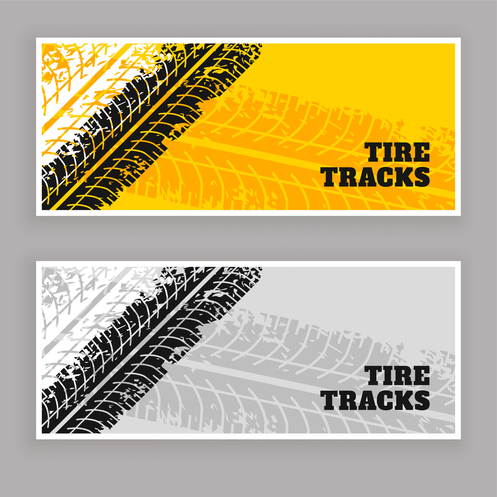 Tire tracks banners grunge background