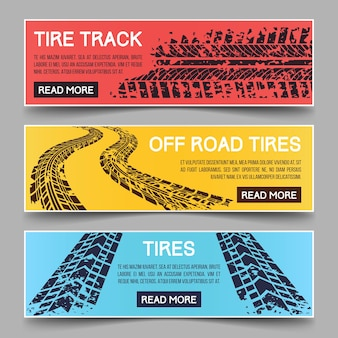 Tire tracks banners set. b