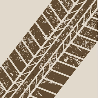 Tire tracks over beige background vector illustration
