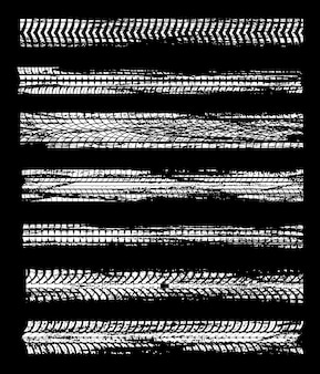 Tire tracks of car wheel design with road dirt print grunge pattern.