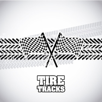 Tire tracks over gray background vector illustration