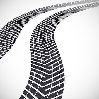 멀리 이어지는 타이어 트랙. 삽화