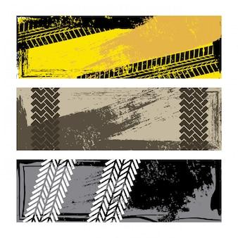 Шины следы на белом фоне векторные иллюстрации