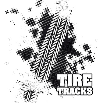 Tire tracks over white background vector illustration
