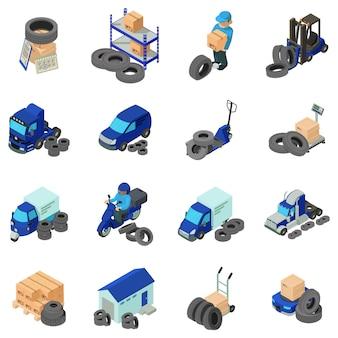 Tire warehouse icon set