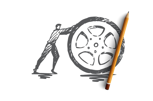 Tire, wheel, auto, transport, repair concept. hand drawn wheel repair service concept sketch.   illustration.