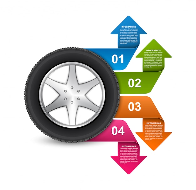 Tire with arrows for brochures and presentations.