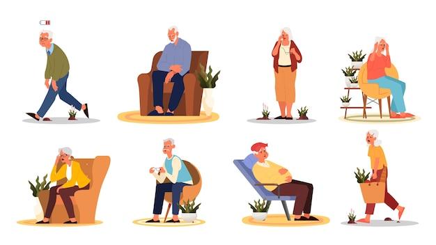 피곤하고 졸린 노인과 여성. 에너지가 부족한 노인. 할머니와 할아버지가 안락 의자에 앉아 있거나 서 있고 약한 느낌.