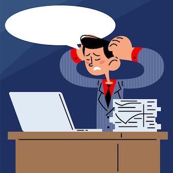 仕事机の上の疲れたビジネスマンフラットベクトル図
