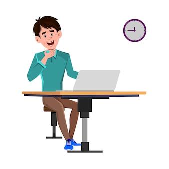 オフィスの椅子に座って、壁掛け時計を探して疲れたビジネスマン