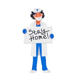 Усталый доктор с табличкой с надписью «остаться дома».