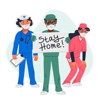 Tired doctors and nurse with stay home sign