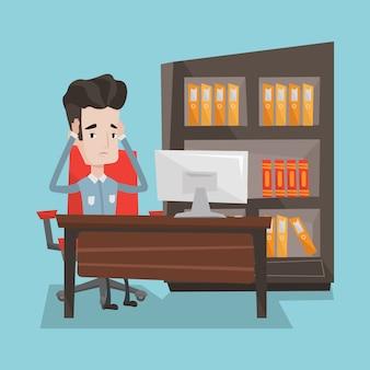 オフィスに座って疲れている従業員。