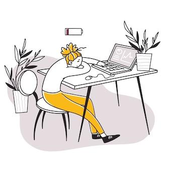 Уставший измученный офисный работник спит за компьютером