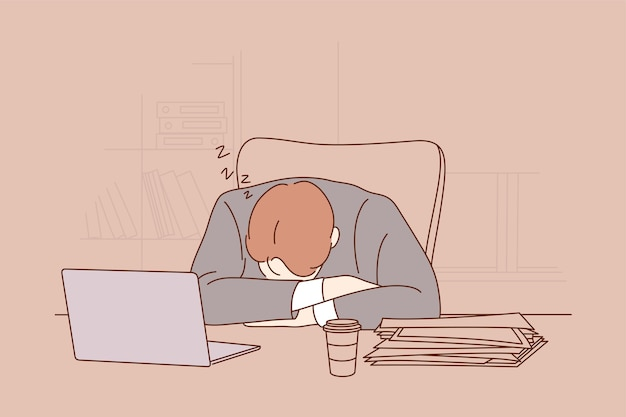 Tired exhausted overworked businessman clerk manager sleeping taking nap on office workplace table