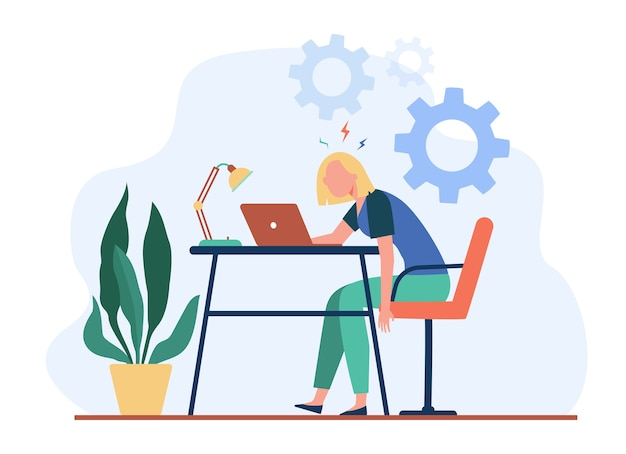 Tired exhausted woman working at laptop and feeling burnout. vector illustration for overload, overwork, fatigue concept.