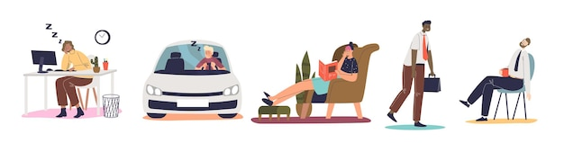 Tired frustrated people suffer professional burnout, sleep at workplace, driving car or reading book at home. set of overworked stressed cartoon characters. flat vector illustration