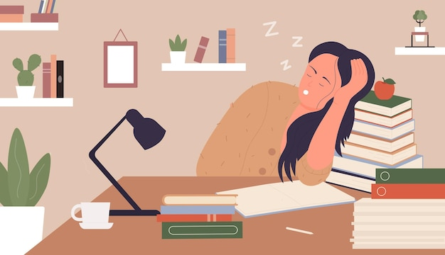 Tired girl exhausted of study young woman sleeping next to books sitting at table