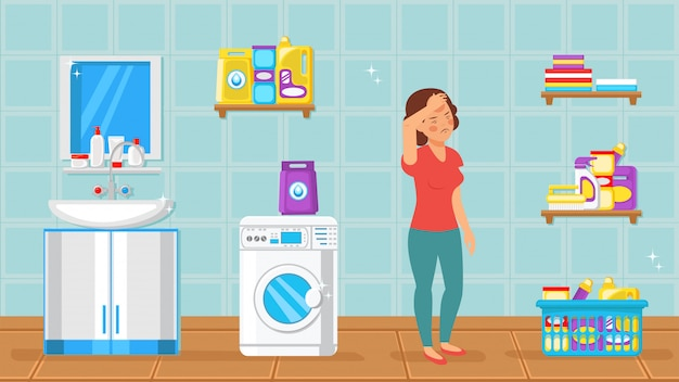 Tired housewife in bathroom vector illustration