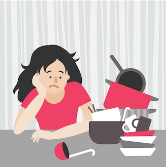 A tired housewife, a woman with dark hair sits at the table and looks at a stack of dirty dishes. plates, pots, frying pan, ladle, spoons. flat vector