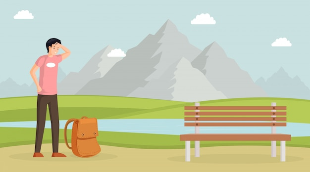 Tired man hiking  illustration. male traveller with backpack, mountain landscape with lake on . tourist, young guy with sweat on forehead, backpacker, hiker on nature