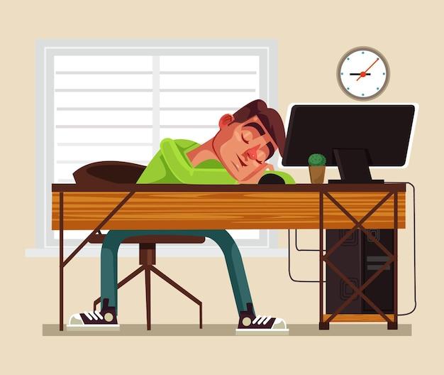 Усталый человек офисный работник персонаж спит на рабочем месте