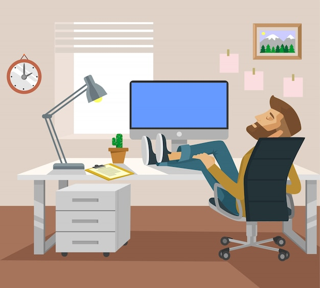 Tired man office worker character sleeping on workplace