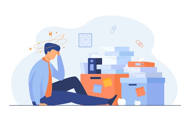 Tired man sitting on floor with paper document piles around flat illustration.