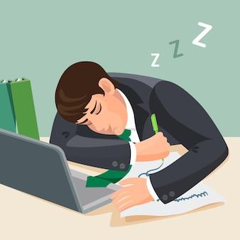 책상에서 자고 피곤 된 남자. 소송에서 사업가 작업 장소에서 잠이. 테이블에 그의 손에 종이와 연필의 시트와 함께 노트북 근처 젊은 남성 잠. 현실적인 그림 프리미엄 벡터