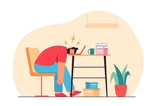 Tired man sleeping on laptop keyboard flat illustration
