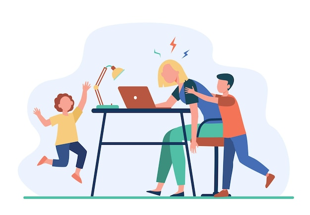 Tired mom working at laptop at home. active kids bothering freelance mother flat illustration