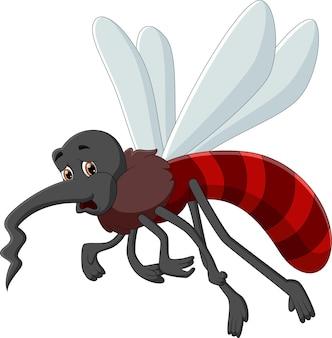 白い背景の上の疲れた蚊の漫画