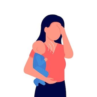 우는 아기를 안고 피곤한 어머니 좌절된 걱정된 엄마와 슬픈 아이 문제 모성