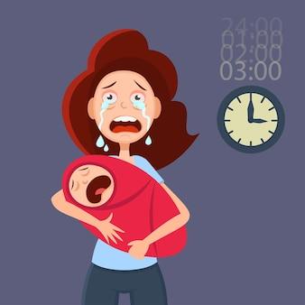우는 아기를 안고 피곤된 어머니입니다. 산후 우울증에 대한 만화 그림입니다.