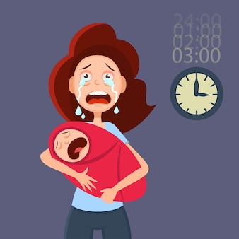 Tired mother holding crying baby. cartoon illustration for  postpartum depression.